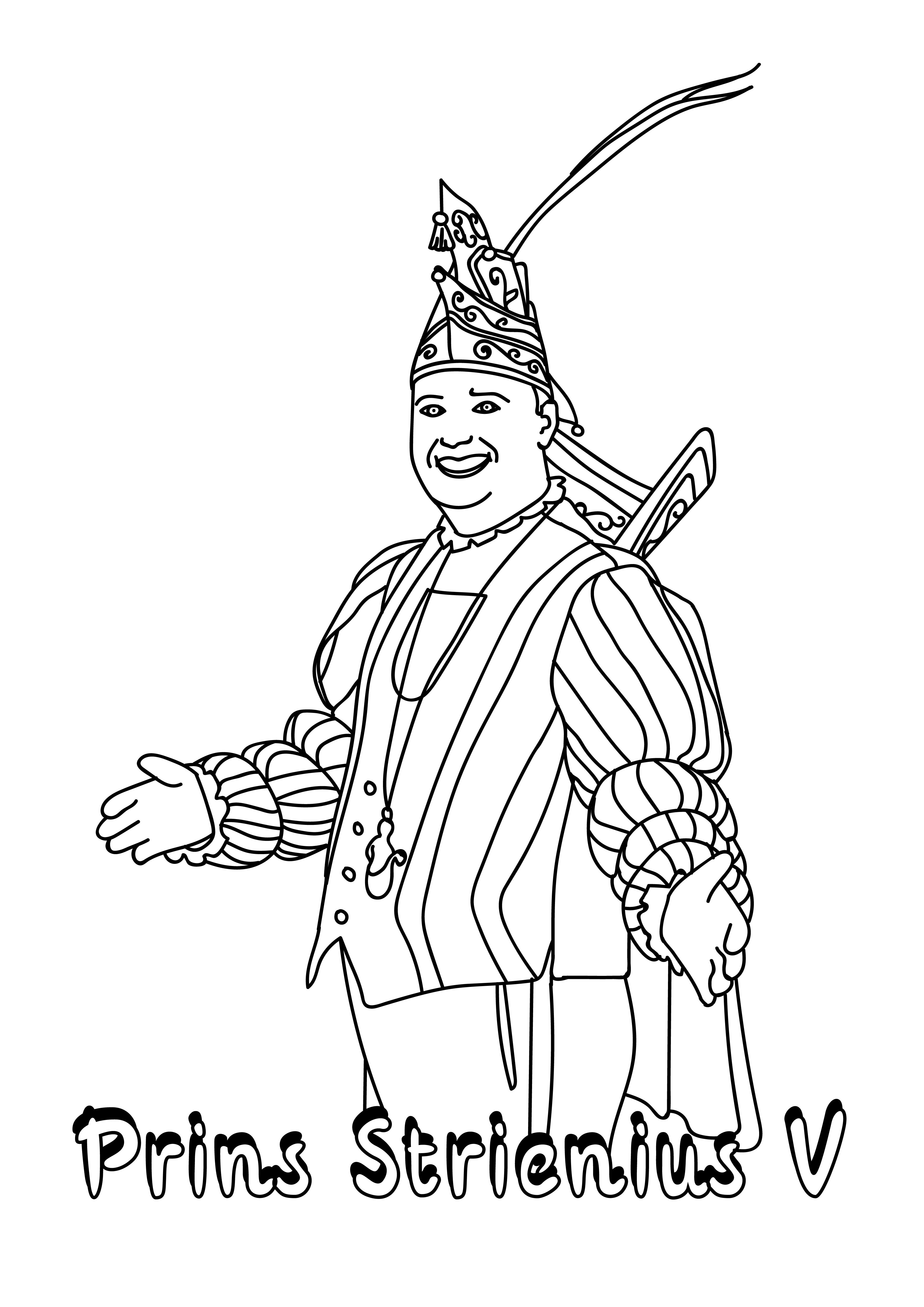 Kleurplaat Prins Strienius V Stichting Karnaval Steenbergen